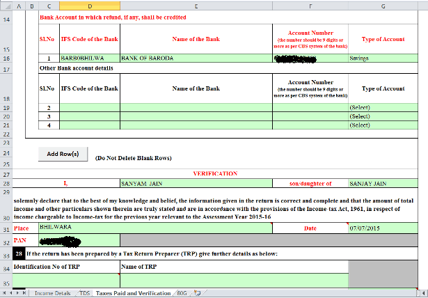 Bank Account Details and Verification