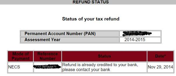Income tax refund status via NSDL