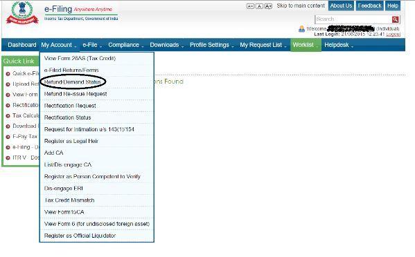 Income tax refund status via incometaxefiling web portal