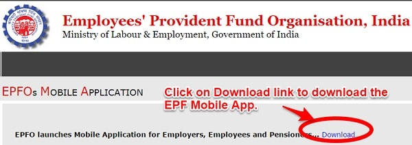EPF Mobile App Download Page