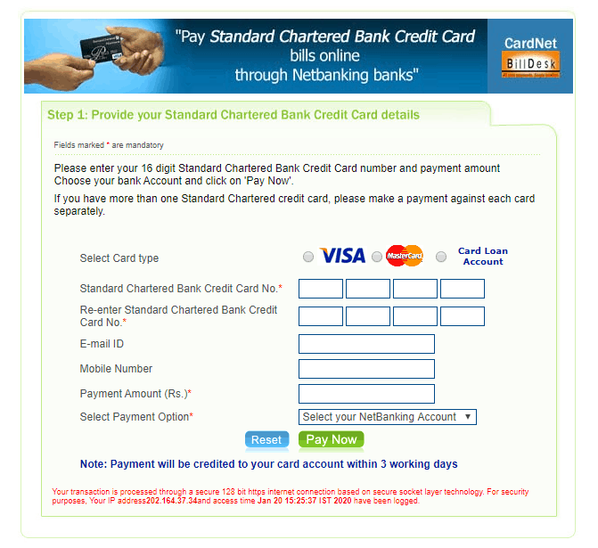 6 Easy Ways of Standard Chartered Credit Card Online Payment 2020