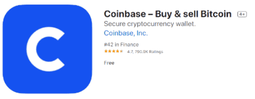 Coinbase app on the Apple store