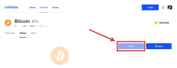 Coinbase- click on send button to transfer bitcoins
