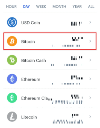 Select bitcoins from the asset list