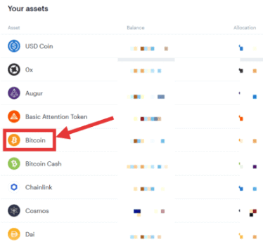 Select bitcoin from the list of different cryptocurrencies