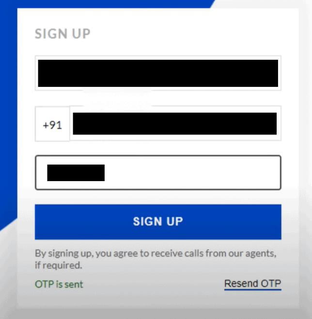 Enter OTP on Upstox Sign up