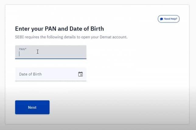 Enter pan details on upstox