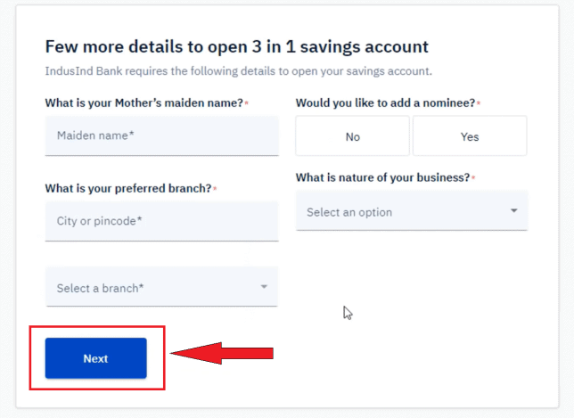 Enter personal details for upstox 3 in 1