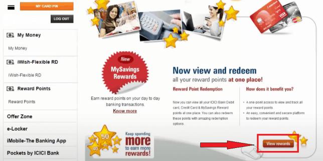 Icici netbanking rewards