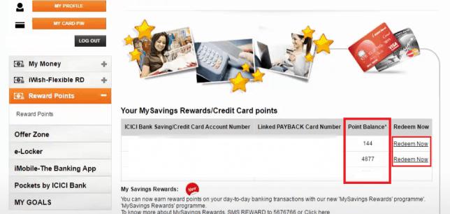 Icici netbanking rewards redeem