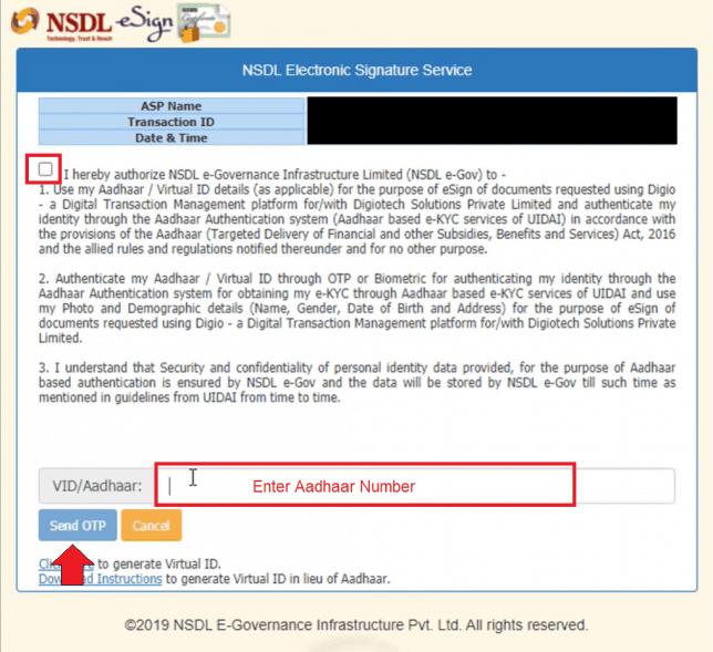 NSDL aadhar verification on upstox