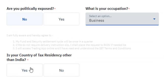 Occupation details on upstox
