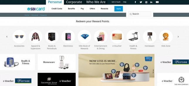 Sbi rewards homepage