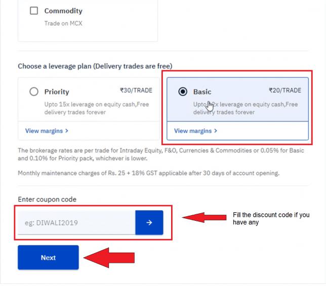 Select plan on upstox