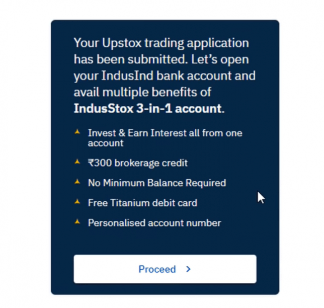 Upstox 3-in-1 account opening process