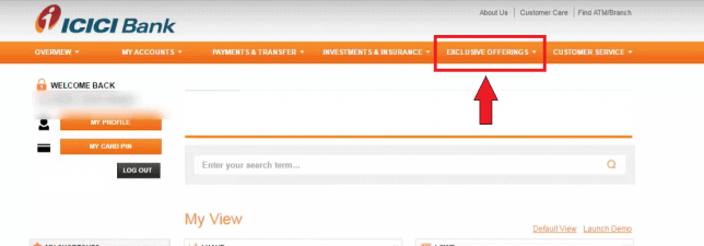 icici netbanking exclusive services
