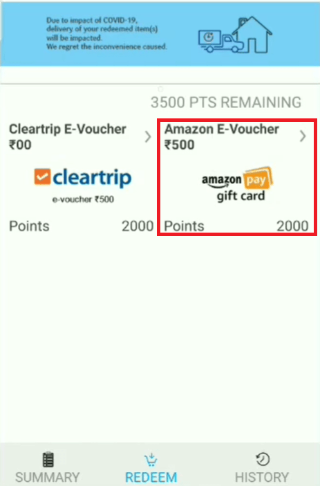select product on sbi rewards