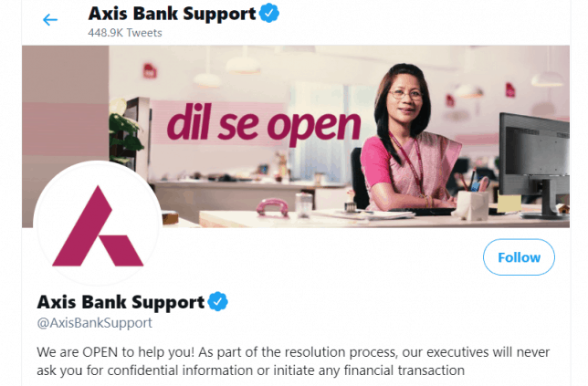Axis bank twitter