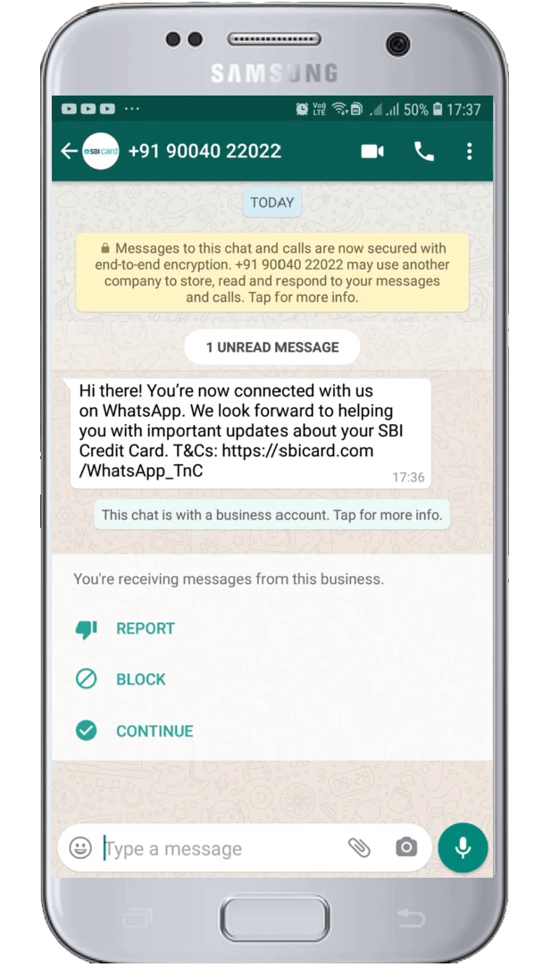 sbi WhatsApp Connect