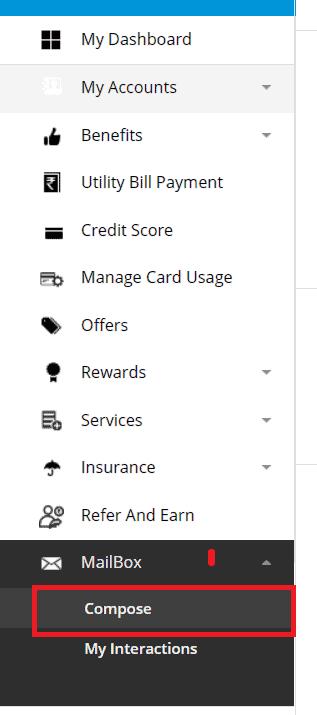 sbi card menu